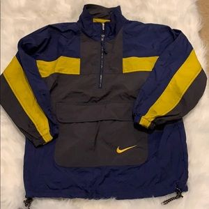 Nike 1/4 Zip Pullover Windbreaker Navy/Yellow Sz M